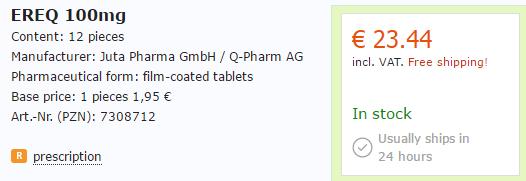 Ereq 100 mg Price