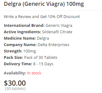 Delgra 100, 30 Tablets Price