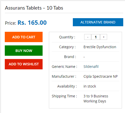 You can buy Assurans for 165 Rs. per 10 Tabs