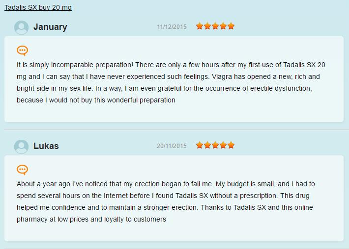 Tadalis SX Customers Experience
