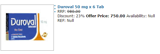 Duroval 50 mg Price