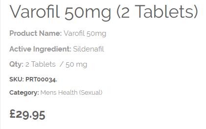 Varofil Sildenafil Price