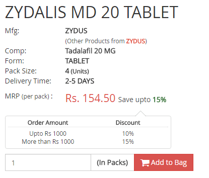 Zydalis MD 20 Tablet Price